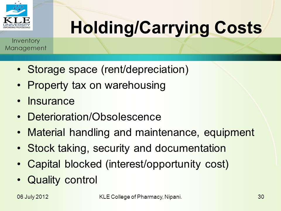 Holding/Carrying Costs