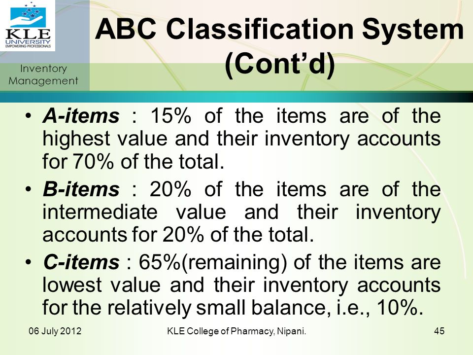 ABC Classification System (Cont'd)