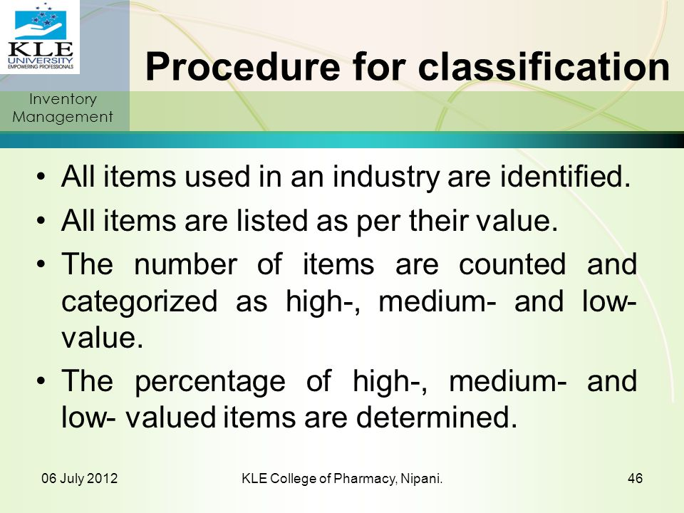 Procedure for classification