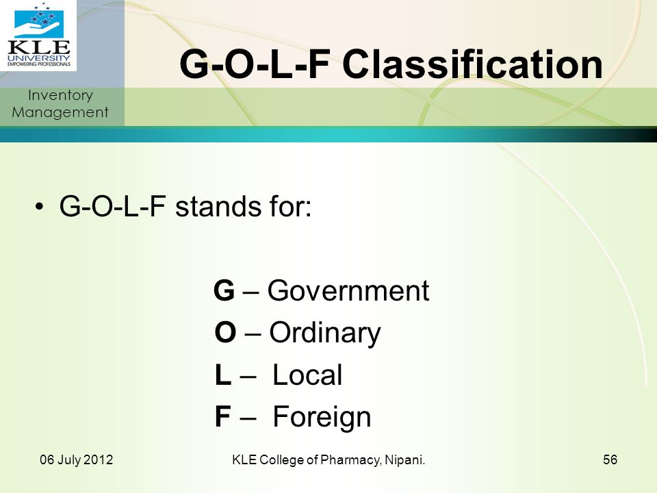 G-O-L-F Classification