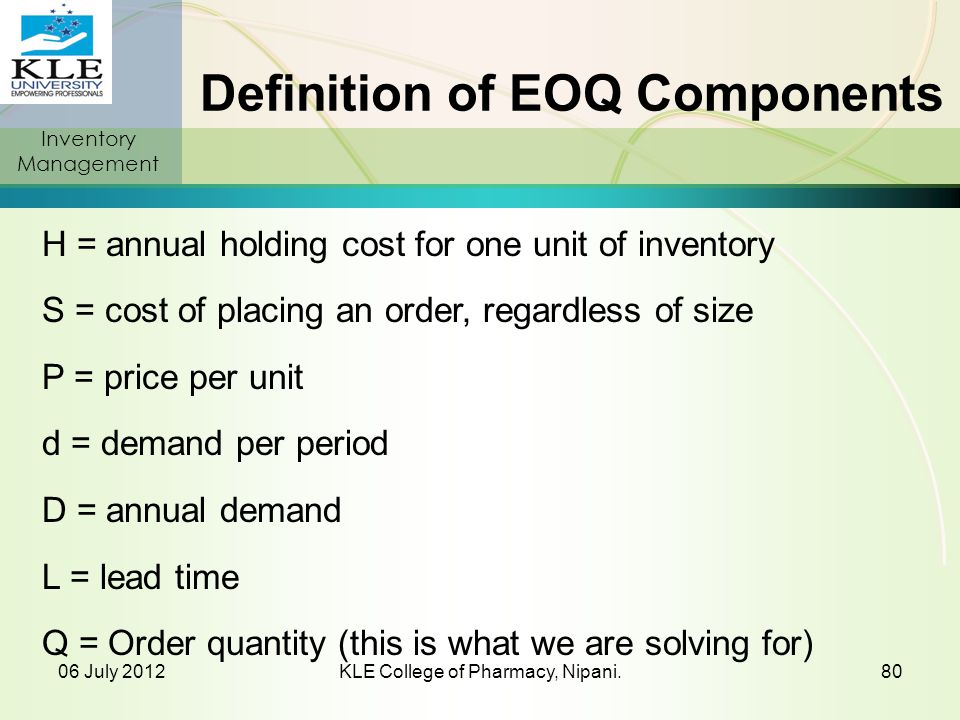 Definition of EOQ Components