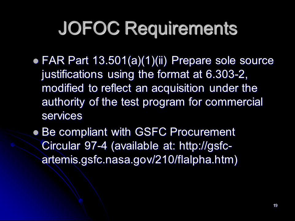 JOFOC Requirements