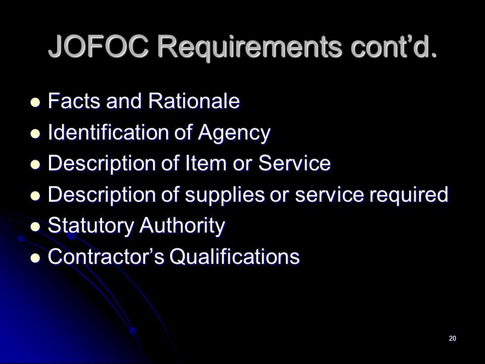 JOFOC Requirements cont'd.