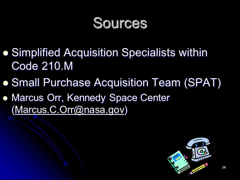 Sources Simplified Acquisition Specialists within Code 210.M