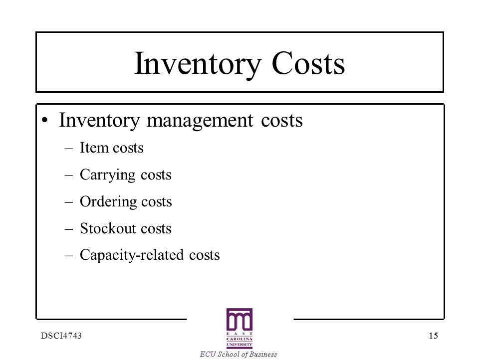 Inventory Costs Inventory management costs Item costs Carrying costs