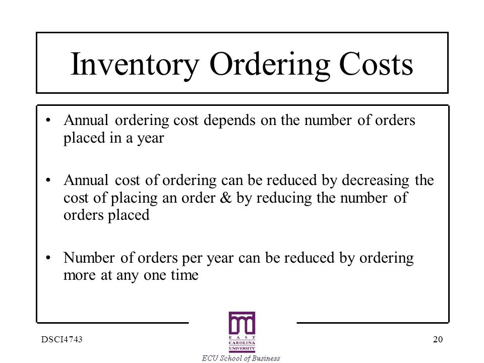 Inventory Ordering Costs