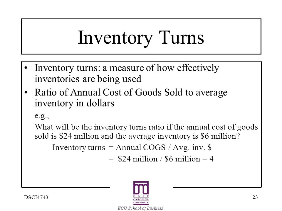 Inventory Turns Inventory turns: a measure of how effectively inventories are being used.