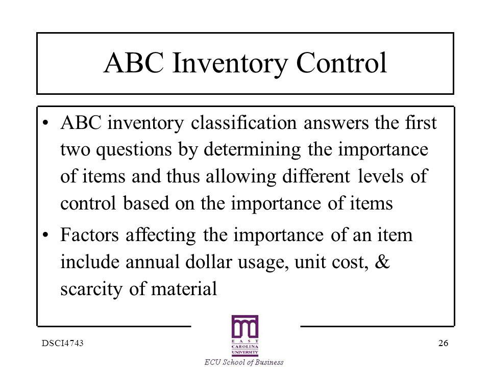 ABC Inventory Control