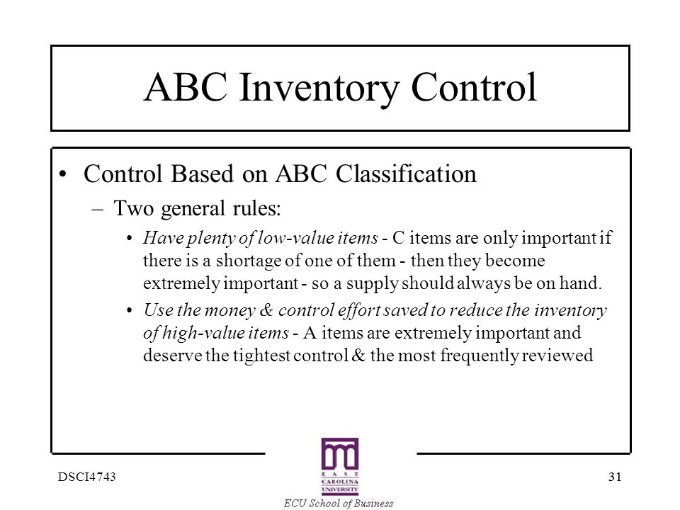ABC Inventory Control Control Based on ABC Classification
