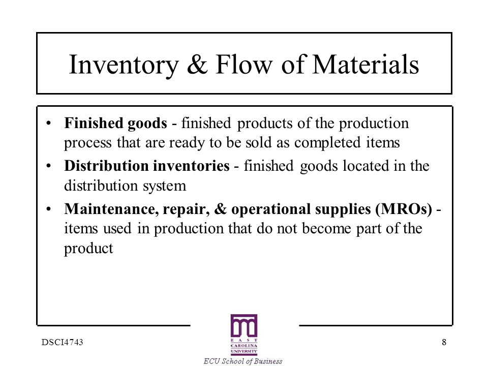 Inventory & Flow of Materials