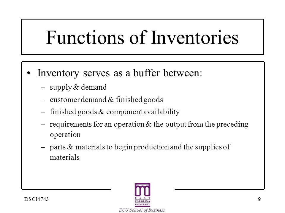 Functions of Inventories