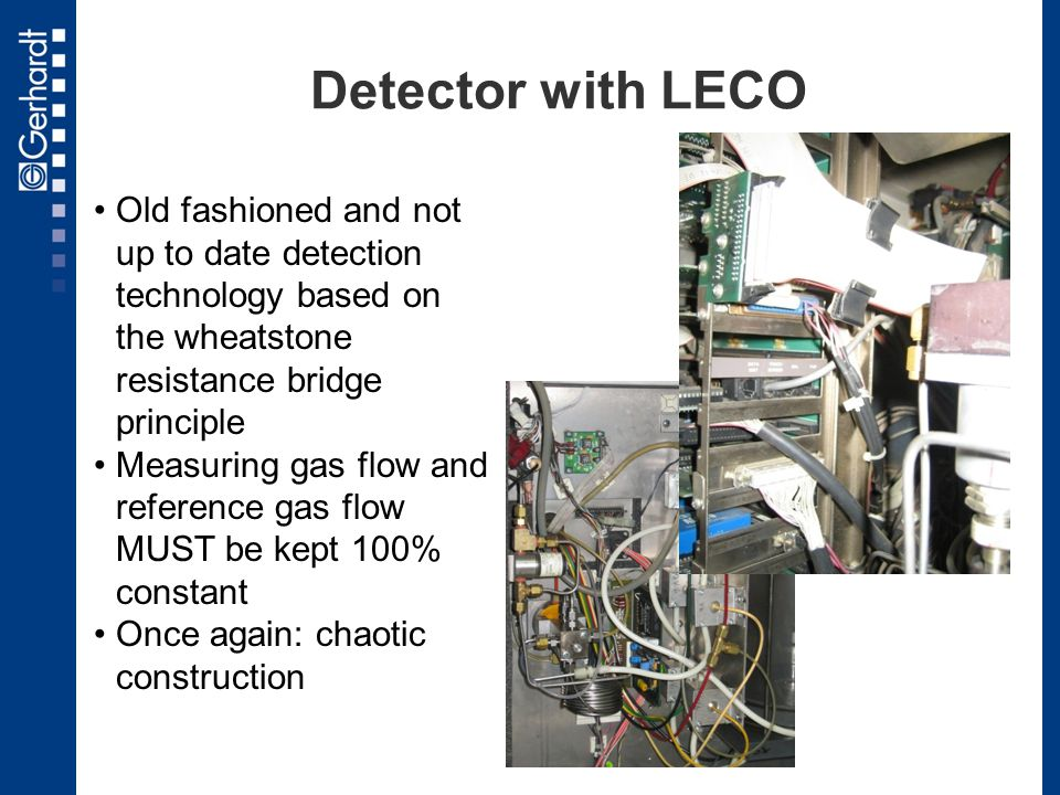 Detector with LECO Old fashioned and not up to date detection technology based on the wheatstone resistance bridge principle.