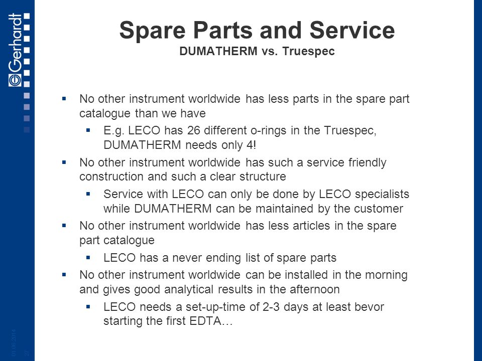 Spare Parts and Service DUMATHERM vs. Truespec