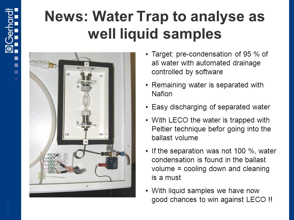 News: Water Trap to analyse as well liquid samples