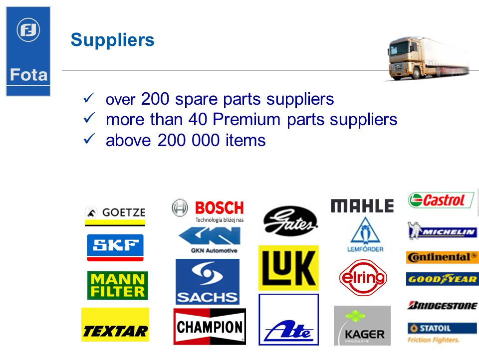 Dostawcy Suppliers more than 40 Premium parts suppliers