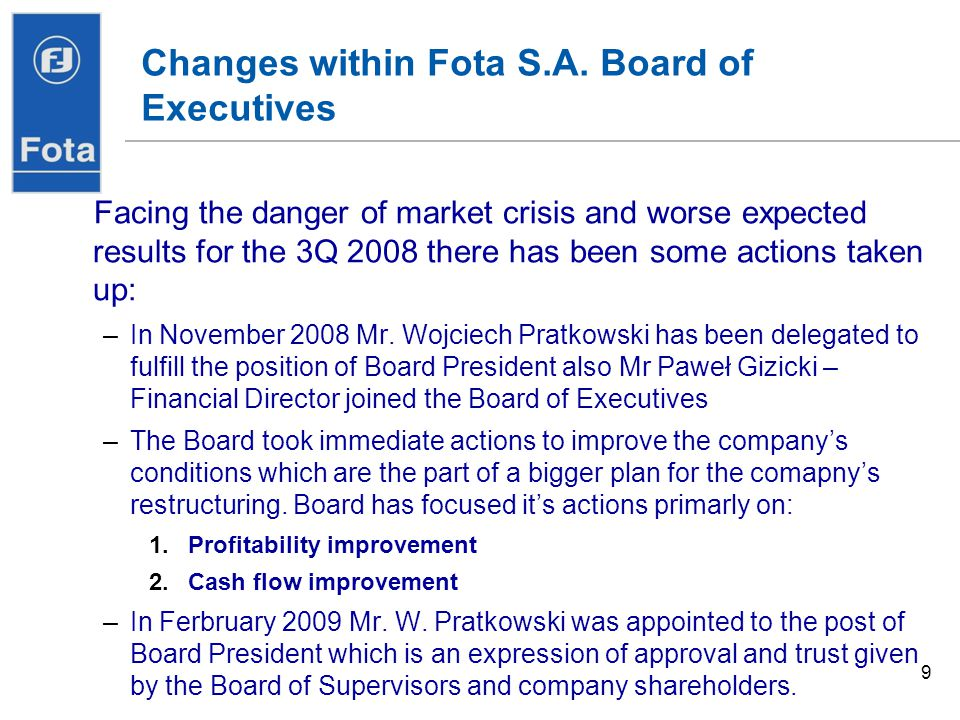 Changes within Fota S.A. Board of Executives