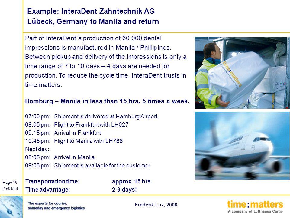 Example: InteraDent Zahntechnik AG Lübeck, Germany to Manila and return