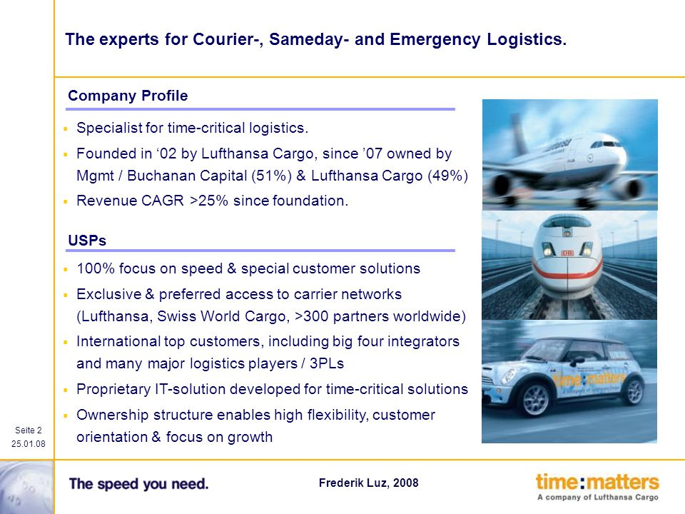 The experts for Courier-, Sameday- and Emergency Logistics.
