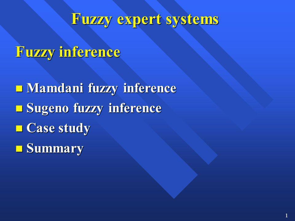 Fuzzy expert systems Fuzzy inference Mamdani fuzzy inference