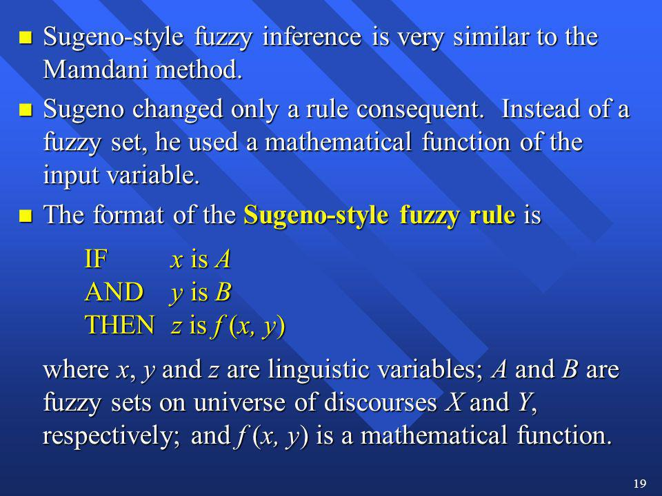 Sugeno-style fuzzy inference is very similar to the Mamdani method.