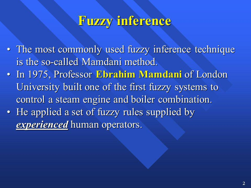Fuzzy inference The most commonly used fuzzy inference technique is the so-called Mamdani method.