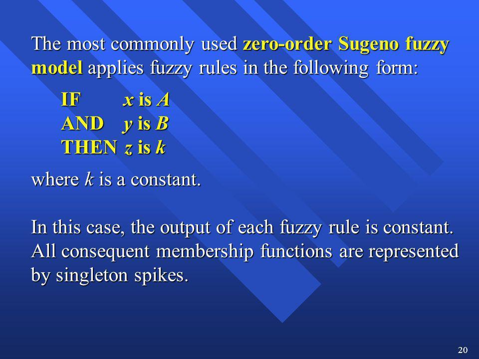 IF x is A AND y is B THEN z is k where k is a constant.