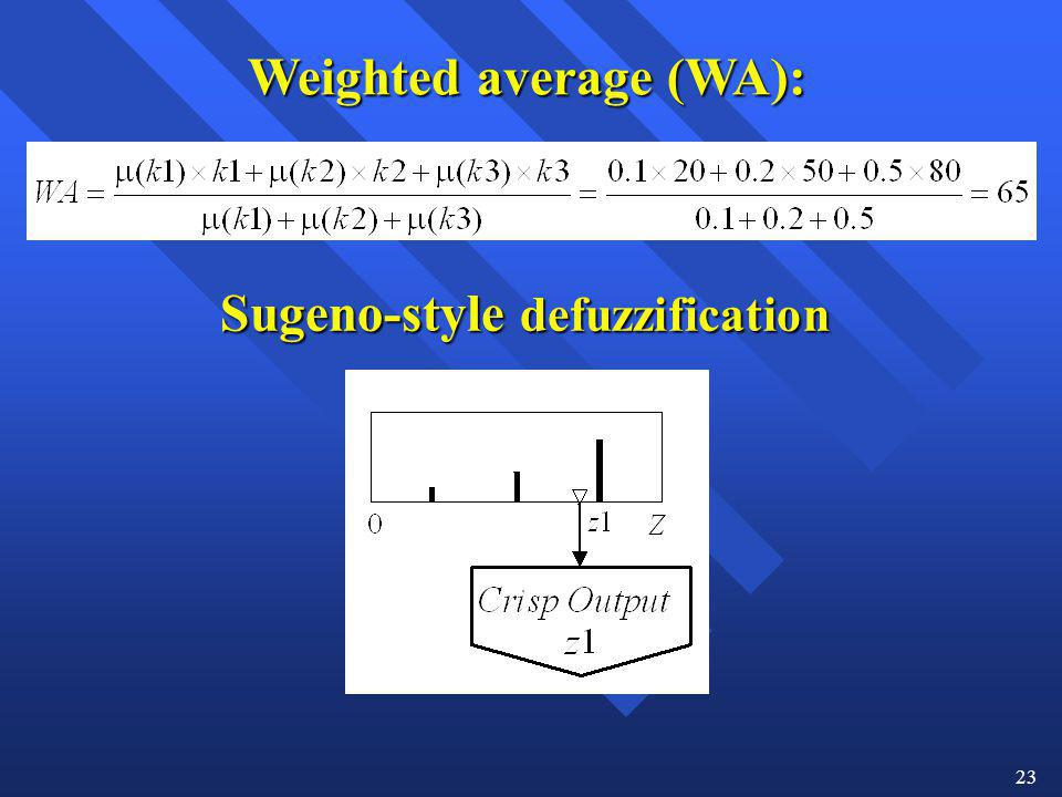 Weighted average (WA): Sugeno-style defuzzification