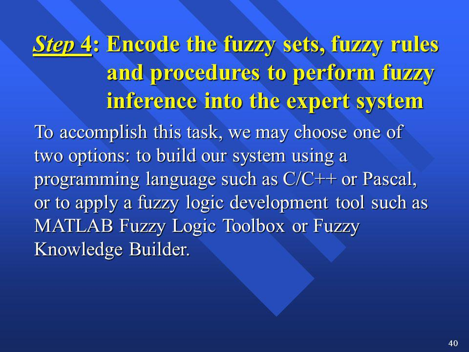 Step 4: Encode the fuzzy sets, fuzzy rules