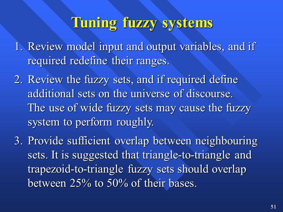 Tuning fuzzy systems 1. Review model input and output variables, and if. required redefine their ranges.