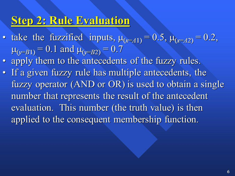apply them to the antecedents of the fuzzy rules.