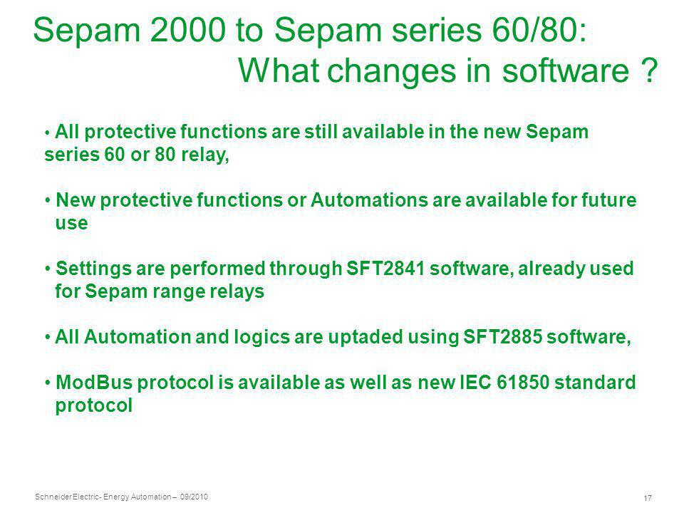 Sepam 2000 to Sepam series 60/80: What changes in software