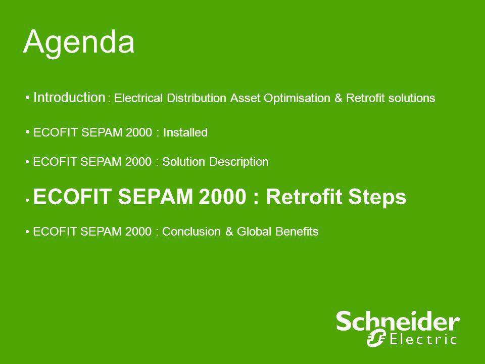 Agenda Introduction : Electrical Distribution Asset Optimisation & Retrofit solutions. ECOFIT SEPAM 2000 : Installed.