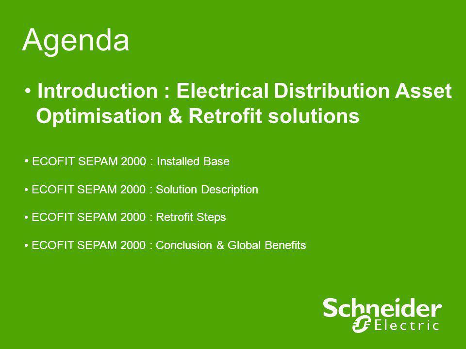 Agenda Introduction : Electrical Distribution Asset Optimisation & Retrofit solutions. ECOFIT SEPAM 2000 : Installed Base.