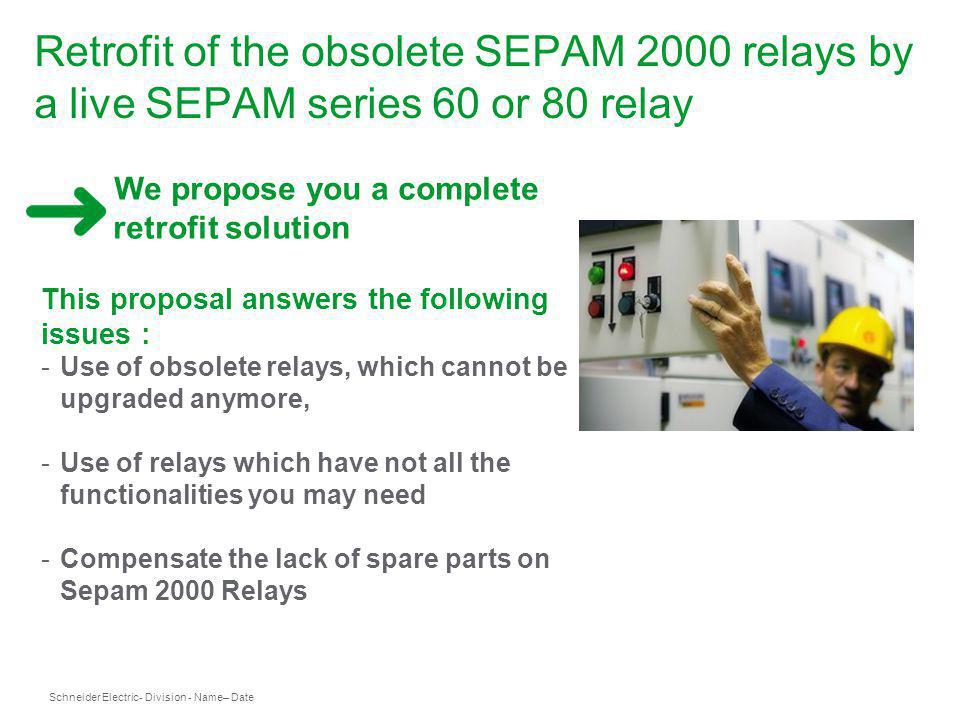 Retrofit of the obsolete SEPAM 2000 relays by a live SEPAM series 60 or 80 relay