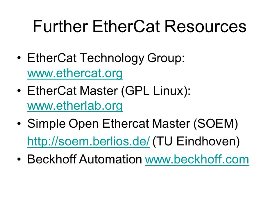 Further EtherCat Resources