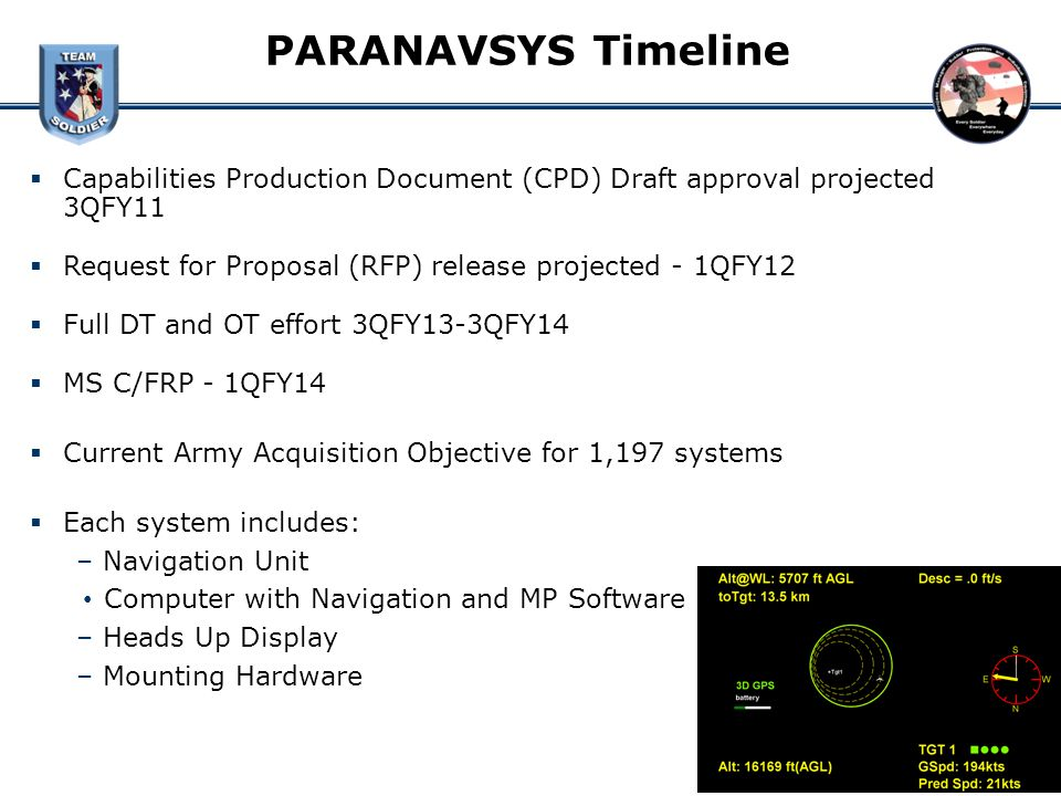 PARANAVSYS Timeline Capabilities Production Document (CPD) Draft approval projected 3QFY11. Request for Proposal (RFP) release projected - 1QFY12.