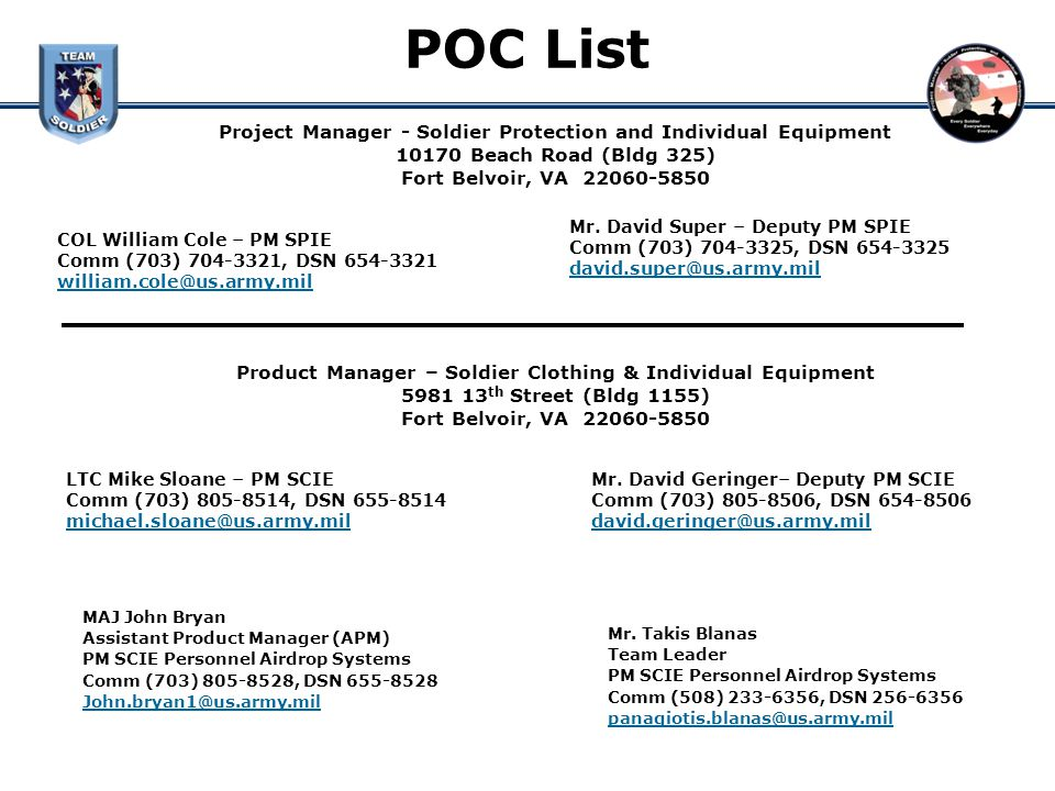 POC List Project Manager - Soldier Protection and Individual Equipment