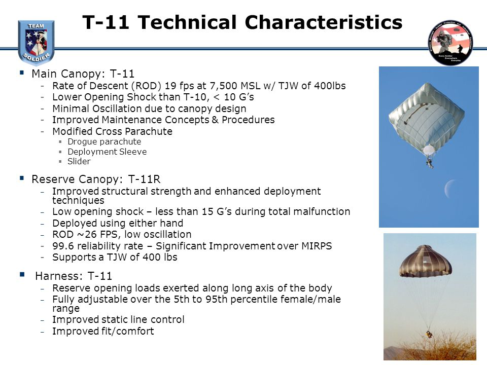 5 T-11 Technical Characteristics  sc 1 st  SlidePlayer & PM Soldier and Inidual Equipment (PM SCIE) Personnel Airdrop ...