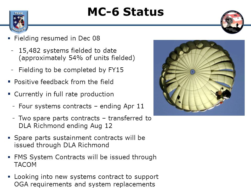 MC-6 Status Fielding resumed in Dec 08