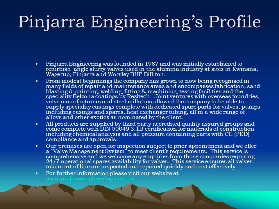 Pinjarra Engineering's Profile