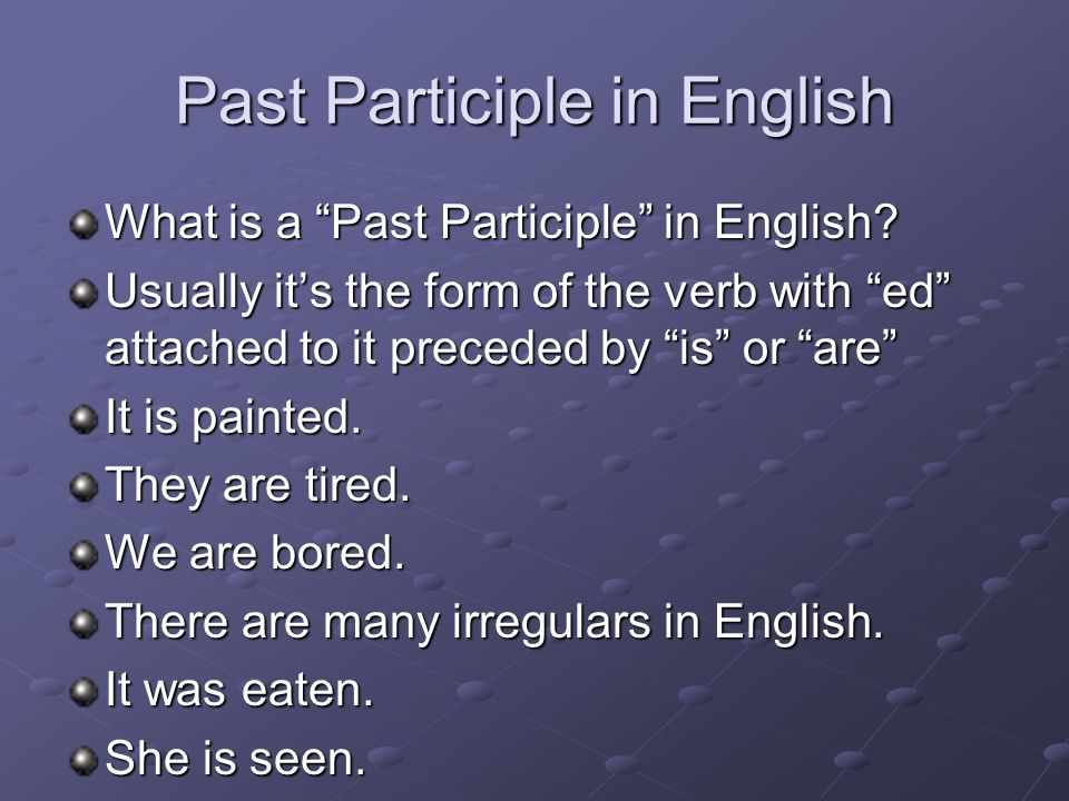 Past Participle in English