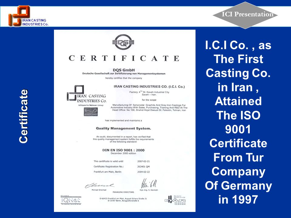 I. C. I Co. , as The First Casting Co