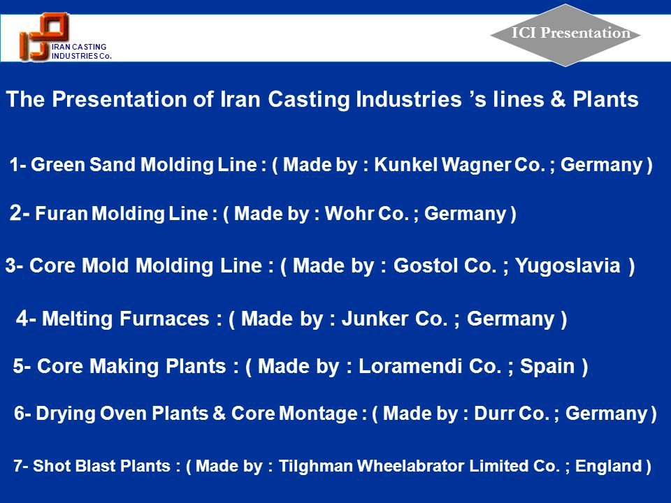 The Presentation of Iran Casting Industries 's lines & Plants