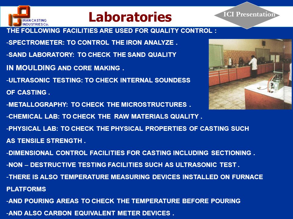 Laboratories IN MOULDING AND CORE MAKING .
