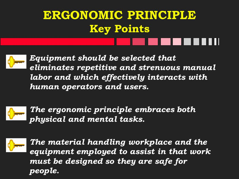 ERGONOMIC PRINCIPLE Key Points