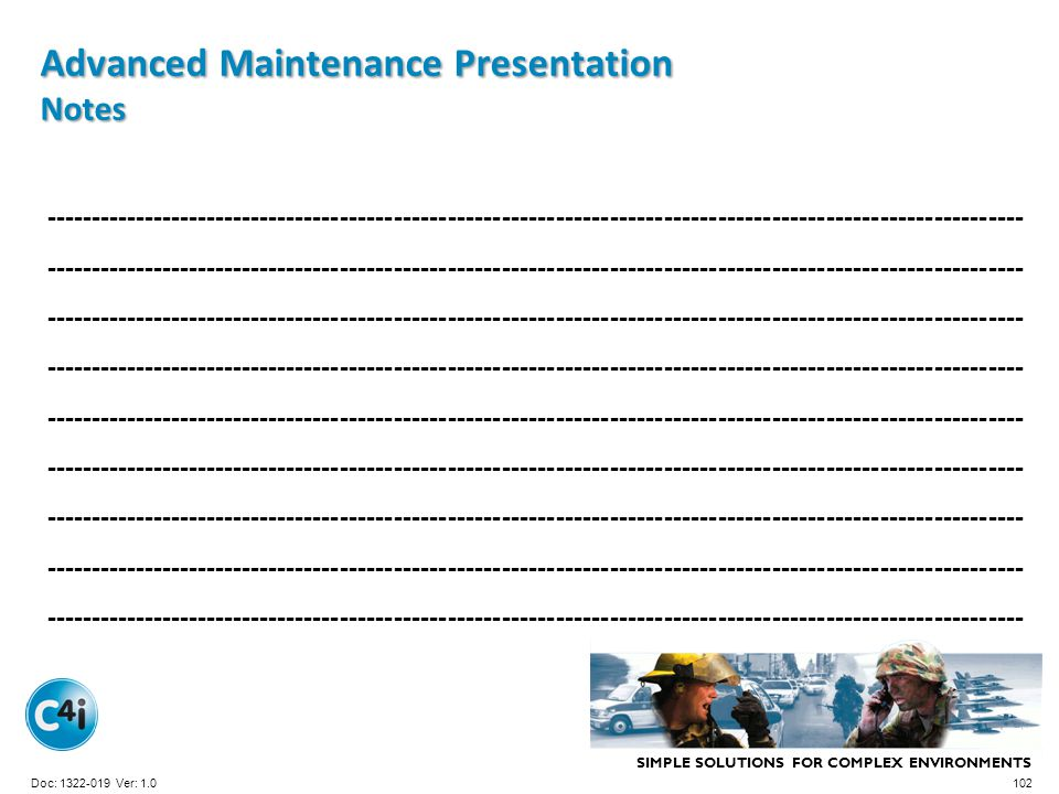 Advanced Maintenance Presentation Notes