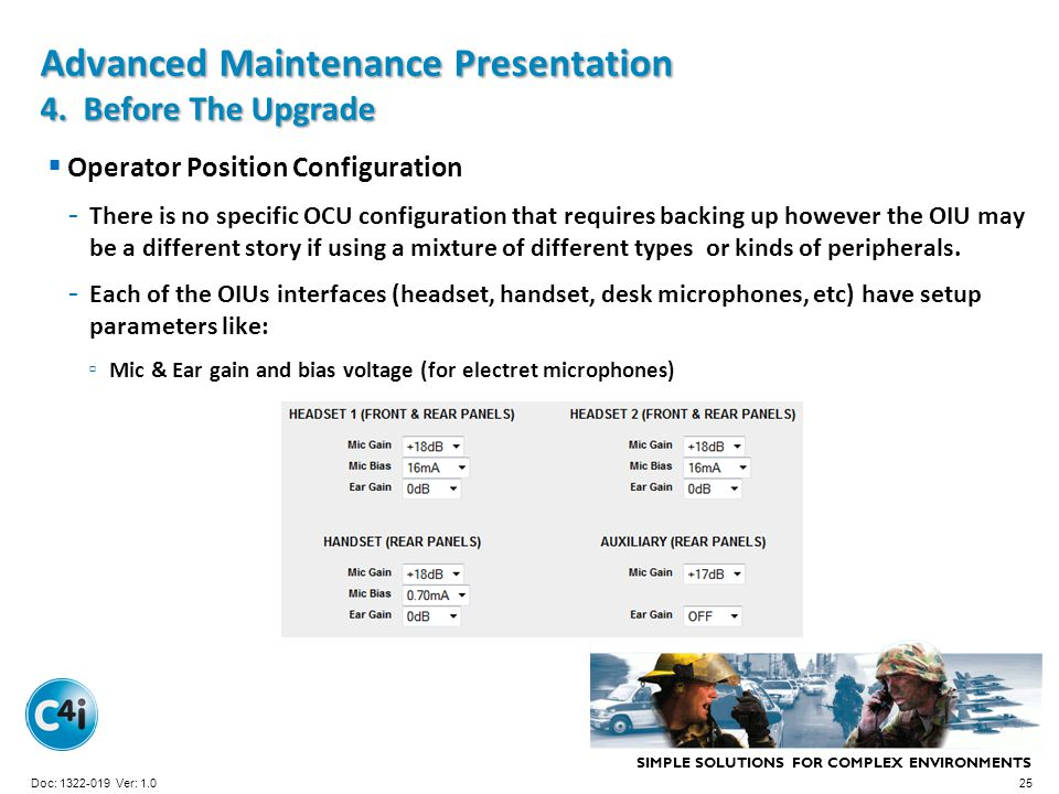 Advanced Maintenance Presentation 4. Before The Upgrade