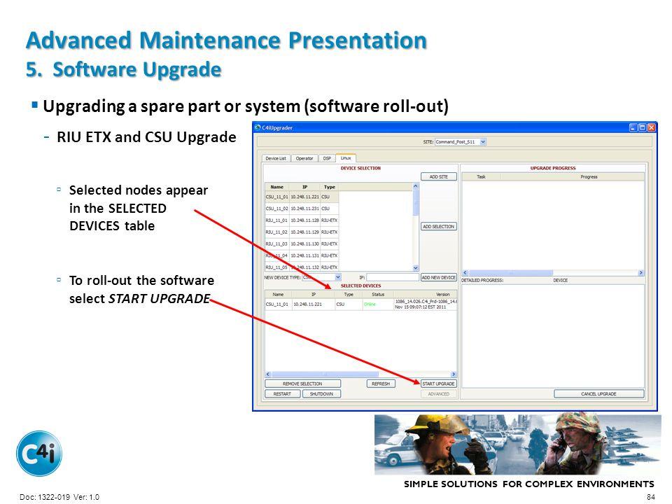 Advanced Maintenance Presentation 5. Software Upgrade