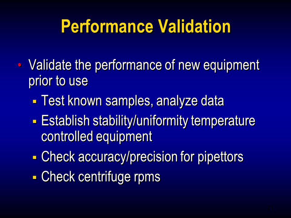 Performance Validation