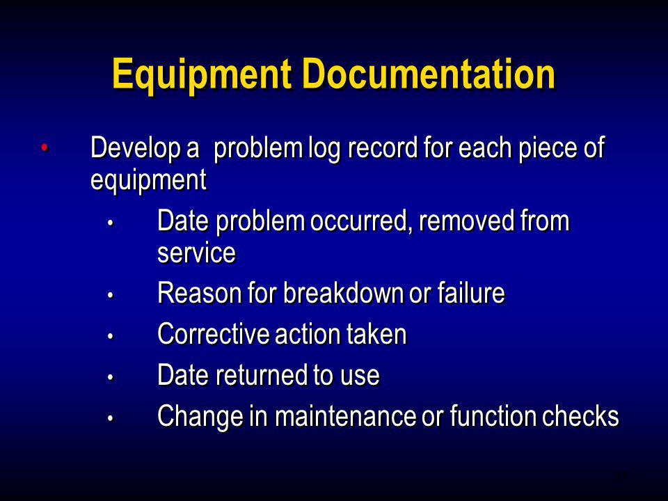 Equipment Documentation